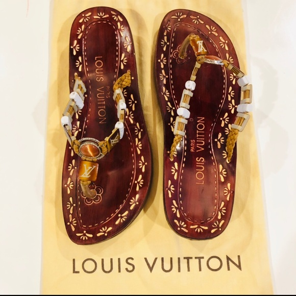 b027050d8c2d5 Louis Vuitton Shoes - Rare!!! LOUIS VUITTON FLIP FLOPS SANDALS Size 7.5